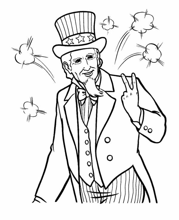 Independence Day, : Image of Uncle Sam on Independence Day Event Coloring Page