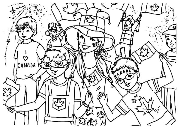 Canada Day, : Kids Celebrating  Canada Day 2015 on the Street Coloring Pages