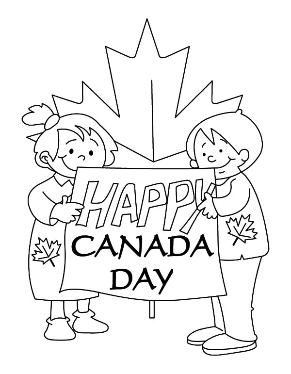 Canada Day, : Two Childrens Create Sign for Canada Day 2015 Coloring Pages