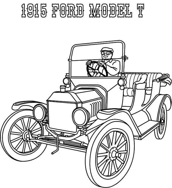 Model t Car, : 1915 Ford Model T Car Coloring Pages