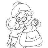 Grandmother, A Boy Kiss His Grandmother Coloring Pages: A Boy Kiss His Grandmother Coloring Pages