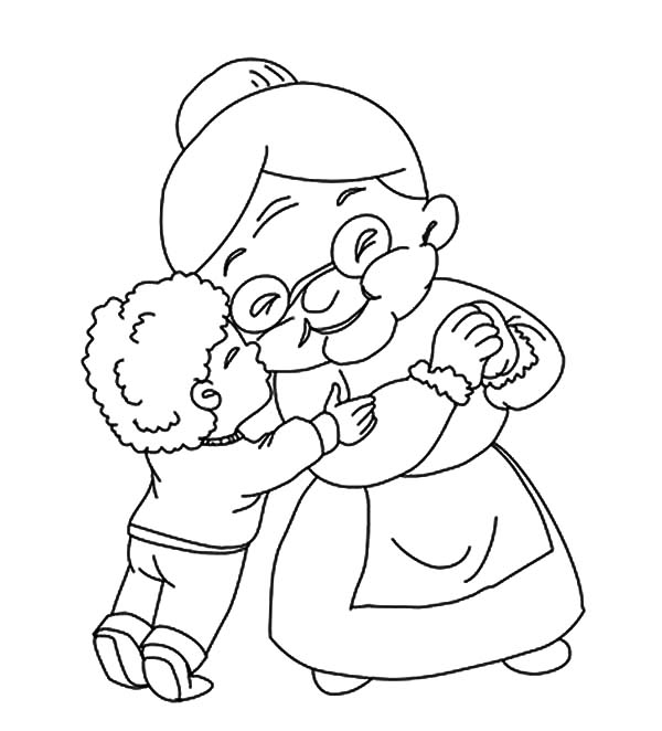 Grandmother, : A Boy Kiss His Grandmother Coloring Pages
