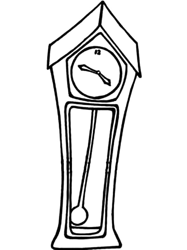 Grandfather Clock, : A Grandfather Clock with a Swinging Pendulum Coloring Pages