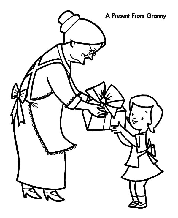 Grandmother, : A Present for My Grandmother Coloring Pages