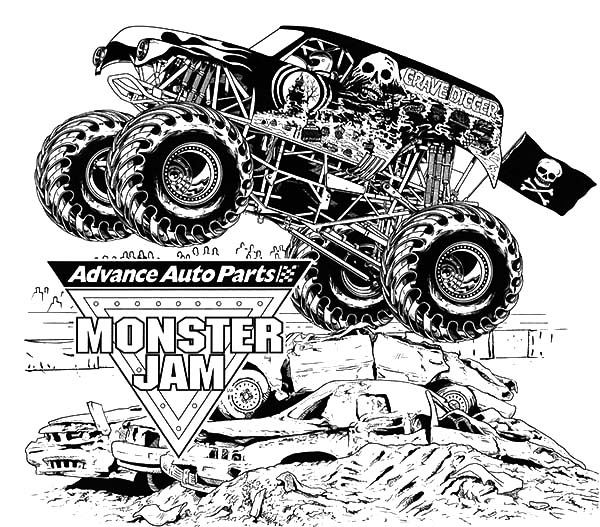 Monster Jam, : Advance Auto Parts Monster Jam Coloring Pages