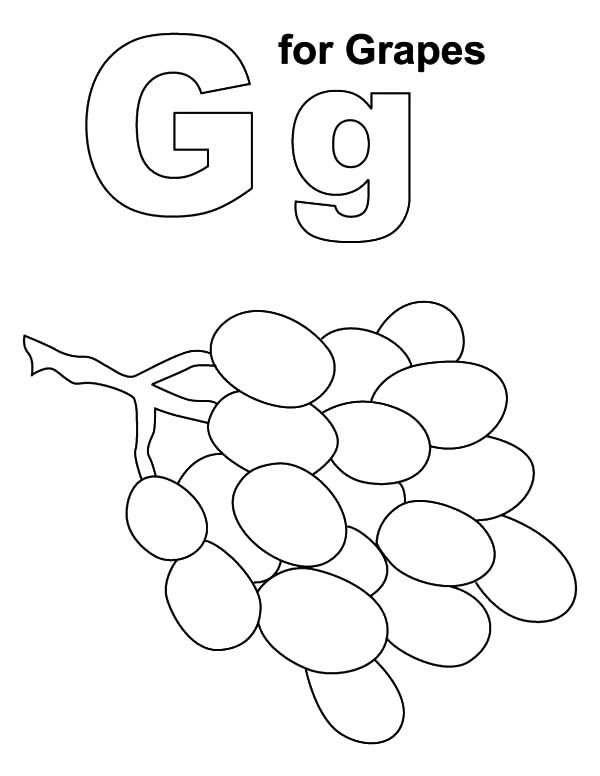 Grapes, : Alphabet G for Grapes Coloring Pages