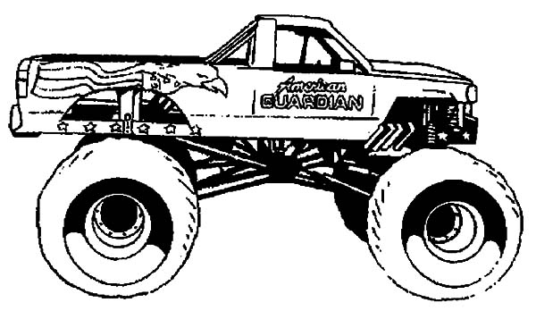 Monster Jam, : American Guardian Monster Jam Coloring Pages