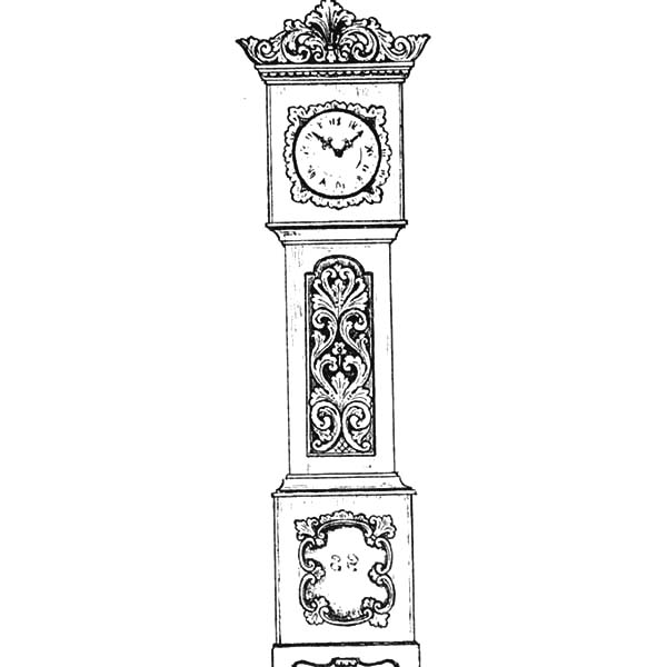 Grandfather Clock, : An Antique Grandfather Clock Coloring Pages