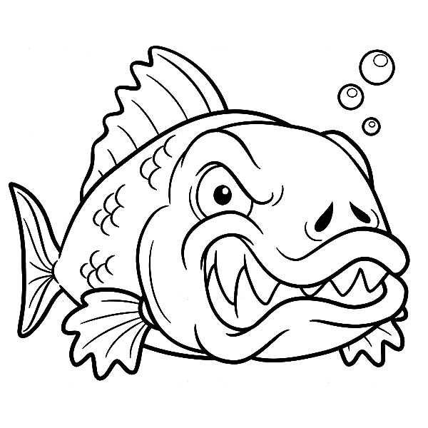 Monster Fish, : Angry Monster Fish Coloring Pages