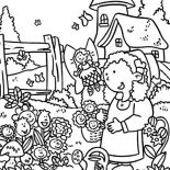 Garden, Anne Story And Garden Of Smiling Flower Coloring Pages: Anne Story and Garden of Smiling Flower Coloring Pages