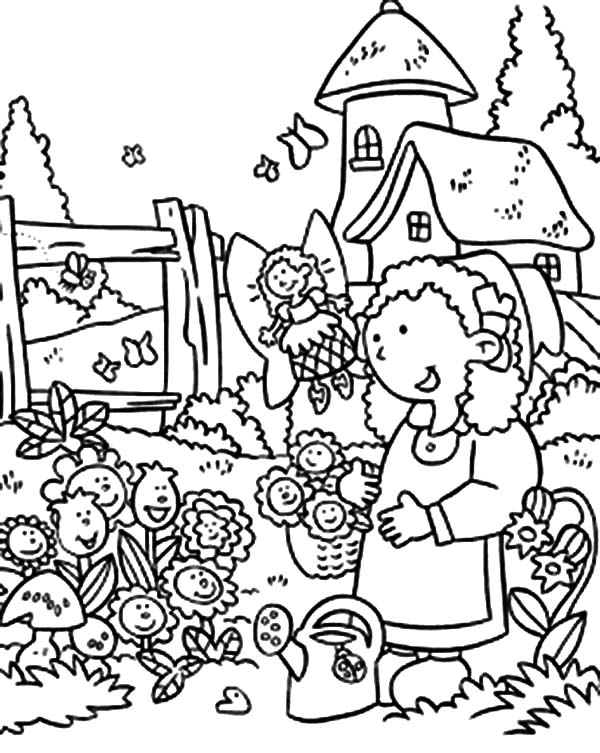 Garden, : Anne Story and Garden of Smiling Flower Coloring Pages