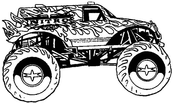 Monster Jam, : Awesome Monster Truck in Monster Jam Coloring Pages