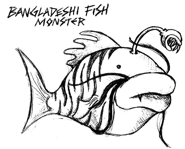 Monster Fish, : Bangladeshi Monster Fish Coloring Pages