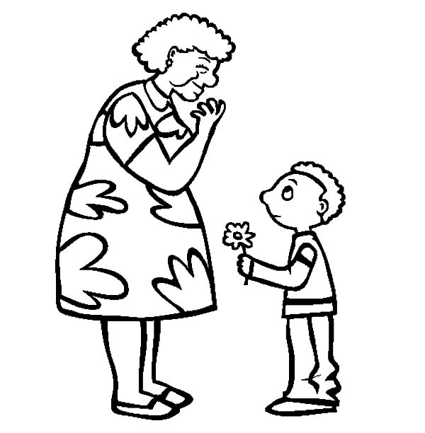 Grandmother, : Beautiful Flower for Grandmother Coloring Pages