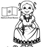 Mexican Dress, Beautiful Mexican Girl Dress Coloring Pages: Beautiful Mexican Girl Dress Coloring Pages