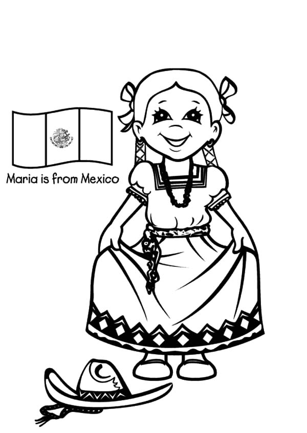Beautiful Mexican Girl Dress Coloring Pages | Color Luna