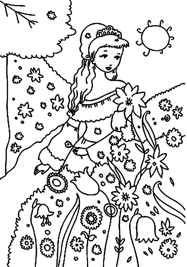 Garden, : Beautiful Princess Garden Coloring Pages