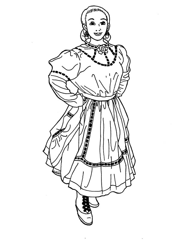 Mexican Dress, : Beautiful Woman in Mexican Dress Coloring Pages