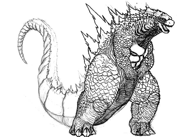 Godzilla, : Big Fat Godzilla Coloring Pages
