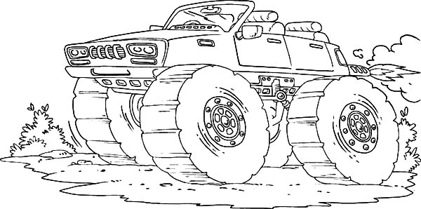 Monster Jam, : Bigfoot Goes Speeding Monster Jam Coloring Pages