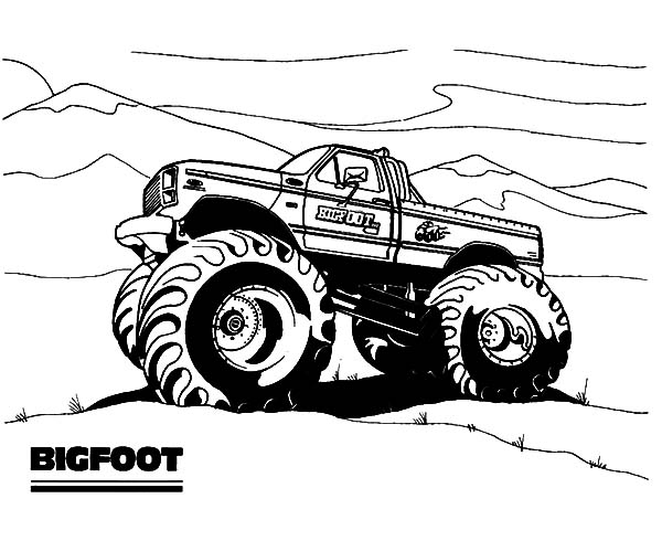 Monster Jam, : Bigfoot Monster Jam Coloring Pages