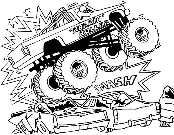 Monster Jam, : Bigfoot Monster Jam Smashing Cars Coloring Pages