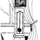 Grandfather Clock, Black Cat Sitting Beside Grandfather Clock Coloring Pages: Black Cat Sitting Beside Grandfather Clock Coloring Pages