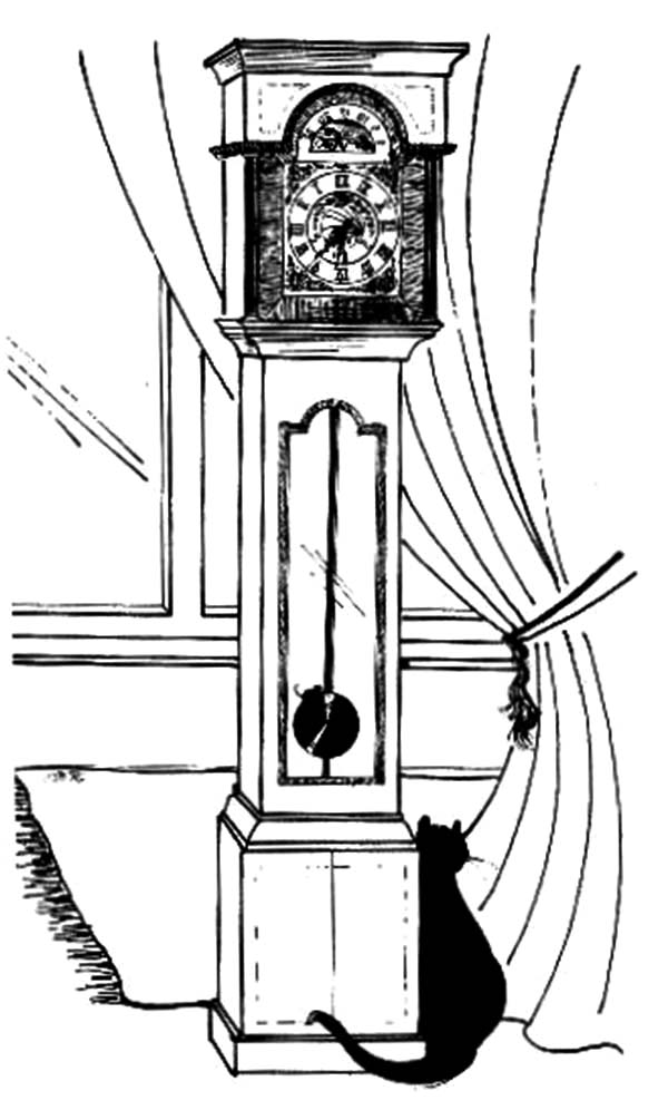 Grandfather Clock, : Black Cat Sitting Beside Grandfather Clock Coloring Pages