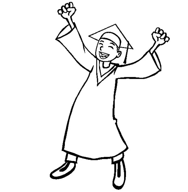 Graduation, : Boy Celebrate Graduation Day Coloring Pages