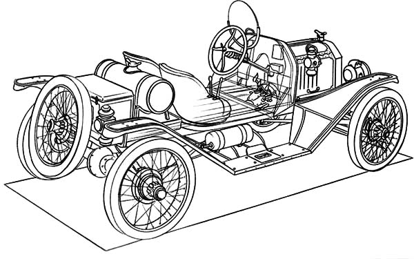 Model t Car, : Building Model T Car Coloring Pages