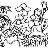 Garden, Butterfly In Beautiful Garden Coloring Pages: Butterfly in Beautiful Garden Coloring Pages