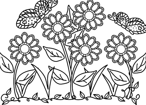 Garden, : Butterfly with Flower in the Garden Colouring Pages