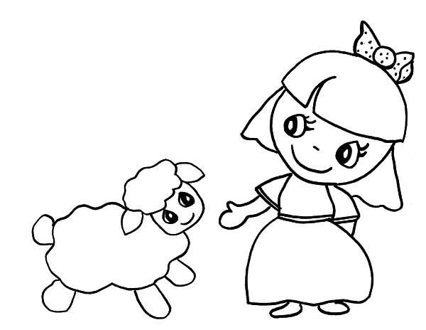 Mary Had a Little Lamb, : Cartoon of Mary Had a Little Lamb Coloring Pages