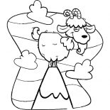 Mountain Goat, Cartoon Of Mountain Goat Coloring Pages: Cartoon of Mountain Goat Coloring Pages