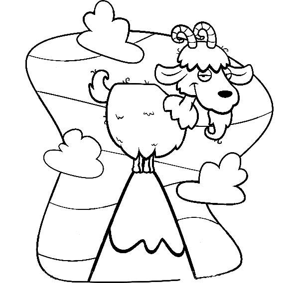 Mountain Goat, Cartoon Of Mountain Goat Coloring Pages: Cartoon of Mountain Goat Coloring Pages