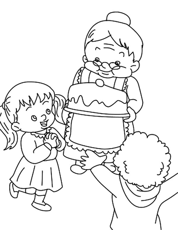 Grandmother, : Celebrate My Birthday with Grandmother Coloring Pages