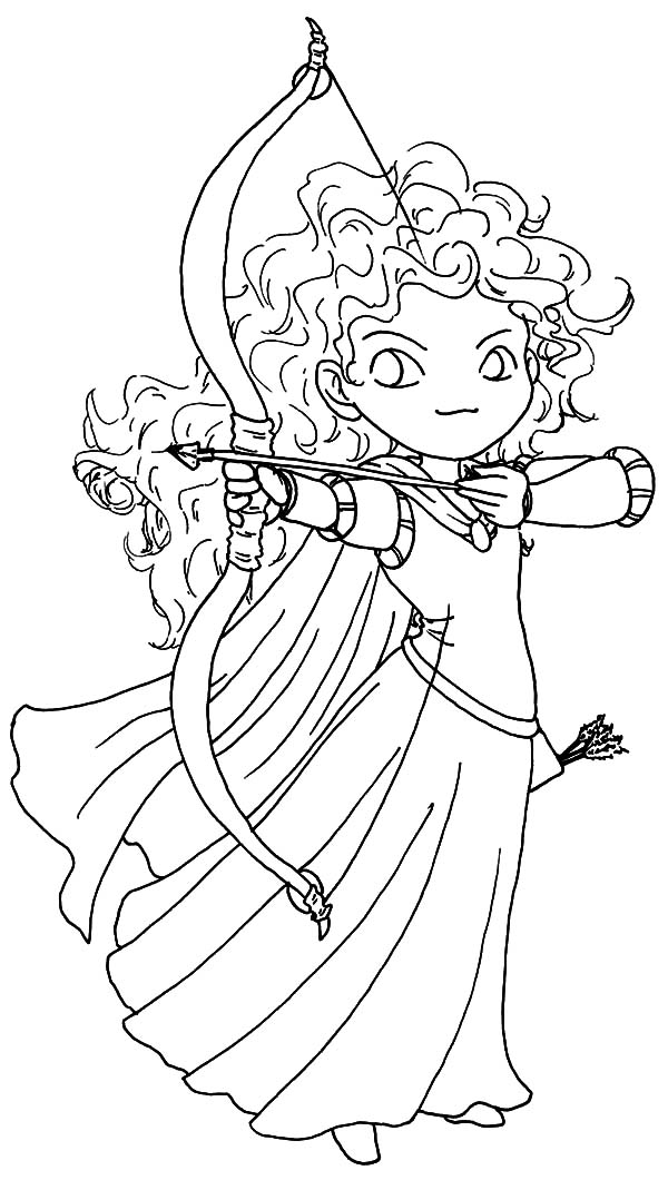 Merida, : Chibi Brave Princess Merida Coloring Pages
