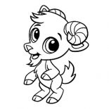 Goat, Chibi Goat Standing On Two Feet Coloring Pages: Chibi Goat Standing on Two Feet Coloring Pages