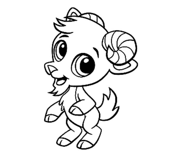 Goat, : Chibi Goat Standing on Two Feet Coloring Pages