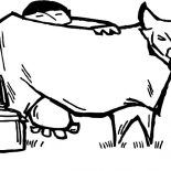 Milking Cow, Chinese Farmer Milking Cow Coloring Pages: Chinese Farmer Milking Cow Coloring Pages