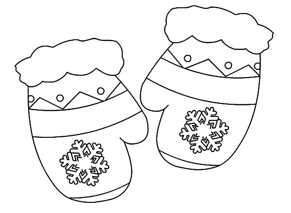 Mittens, : Christmas Gift Mittens Coloring Pages