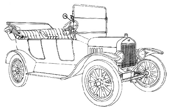 Model t Car, : Classic Ford Model T Car Coloring Pages