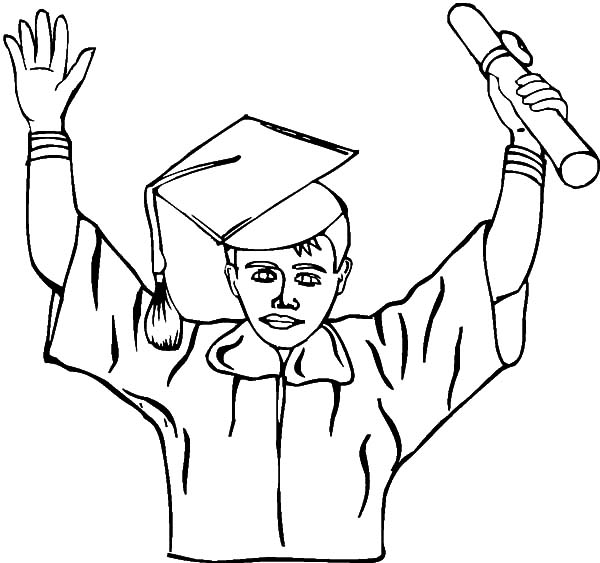 Happy Graduation Boy Coloring Pages