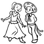 Mexican Dress, Couple Dancing In Mexican Dress Coloring Pages: Couple Dancing in Mexican Dress Coloring Pages