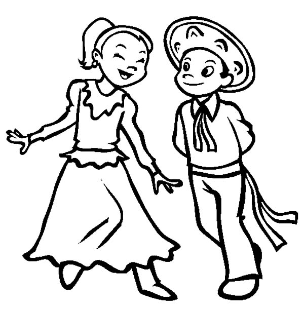 Mexican Dress, : Couple Dancing in Mexican Dress Coloring Pages
