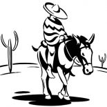 Mexican Donkey, Cowboy Ride Mexican Donkey To Sunset Coloring Pages: Cowboy Ride Mexican Donkey to Sunset Coloring Pages
