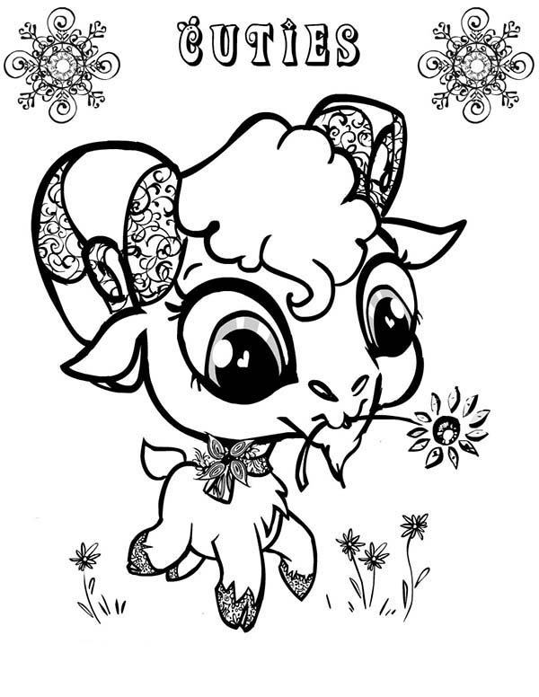 Goat, : Cute Big Eyed Goat Coloring Pages