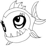 Monster Fish, Cute Monster Fish Coloring Pages: Cute Monster Fish Coloring Pages