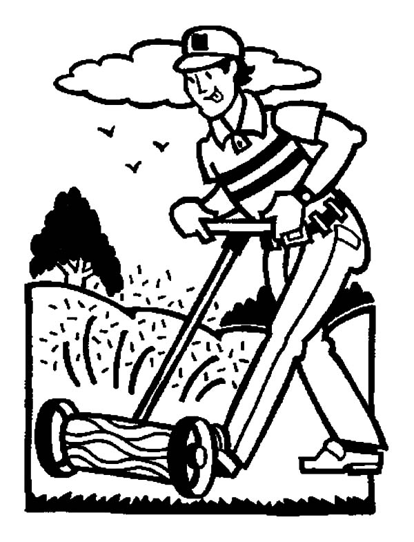 Garden, Cutting Grass In Garden Coloring Pages: Cutting Grass in Garden Coloring Pages