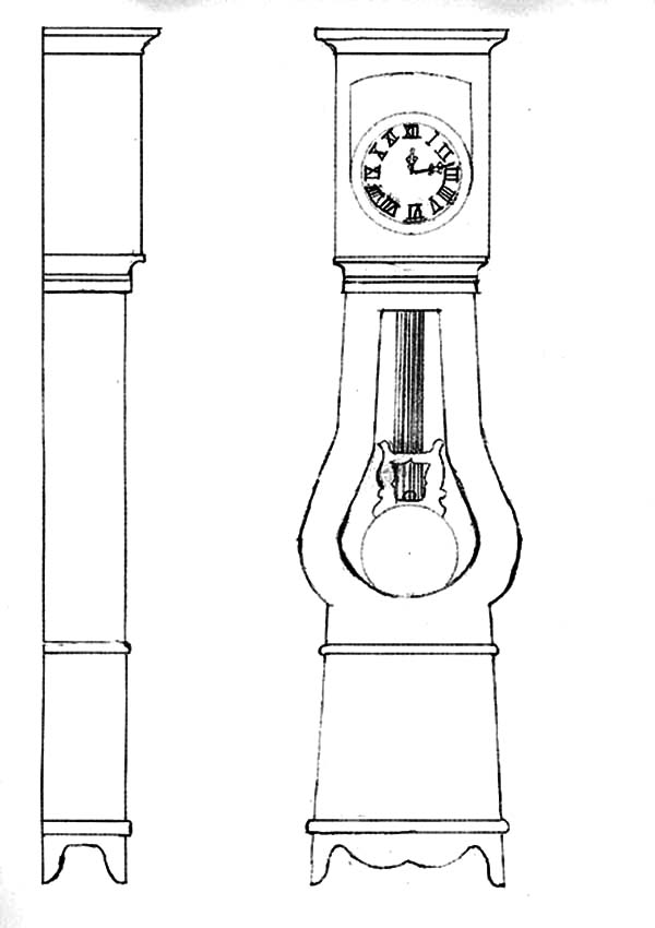 how to draw grandfather clock coloring pages